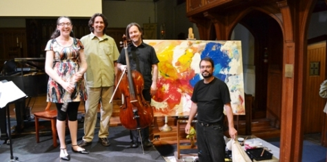 the VOX trio with artist Richard Talbot & his creation