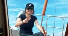"Violinist Lindsay Deutsch aboard ""La Bamba II, circa 2008"