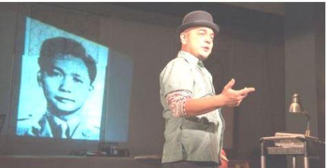 Carlos Cedran, on stage interpreting part of Philippine history