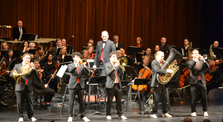 The Canadian Brass onstage with the H.P.O.