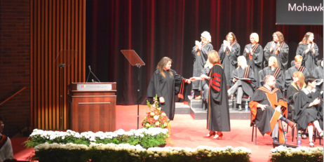 The actual graduation ceremony procession