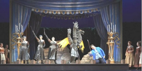a dramatic moment with Papagano early in THE MAGIC FLUTE